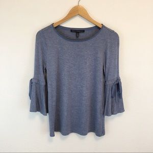 WHBM bell sleeve blue sweater shirt with bows XS
